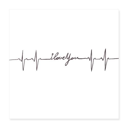 Ik hou van jou hartslag - Poster 40 x 40 cm