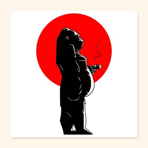 Coffee time & Gorilla - Poster 40 x 40 cm