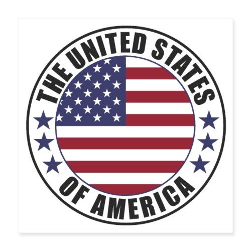The United States of America - USA flag emblem - Poster 16 x 16 (40x40 cm)