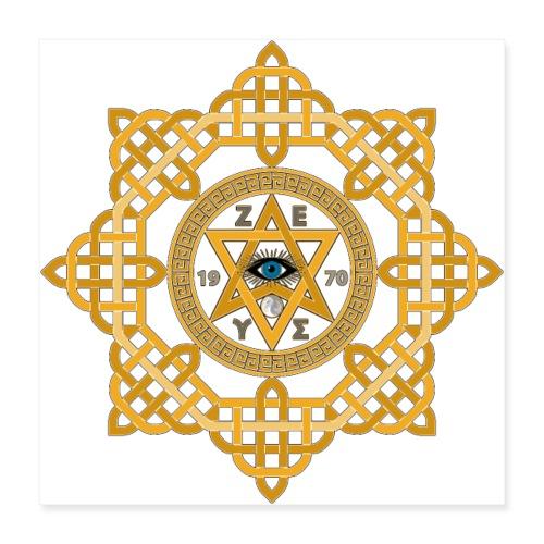 Hexagram ZEUS Mandala 1970 YinYang. 5. Dimension - Poster 40x40 cm