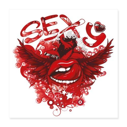SEXY Lips heart Wings - Sexy Lippen Herz Flügel - Poster 40x40 cm