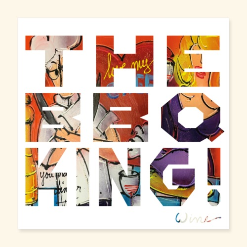 THE BBQ KING T SHIRTS TEKST - Poster 40x40 cm