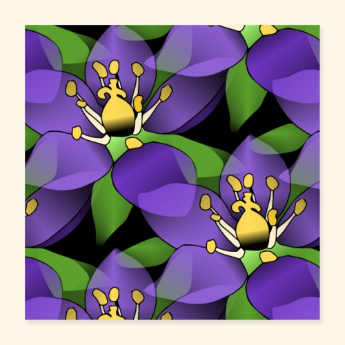 lila Blumen, violette Blüten, florales Muster - Poster 40x40 cm
