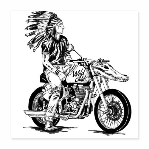 Badass Motorbike Chopper - Wild Child - Motorrad - Poster 40x40 cm