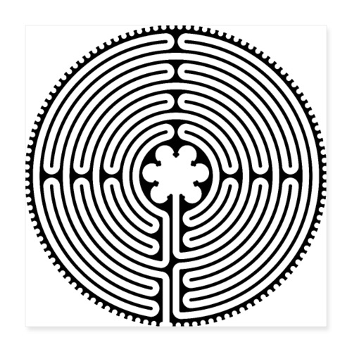 Chartres Labyrinth Long Way 1 - Poster 40x40 cm