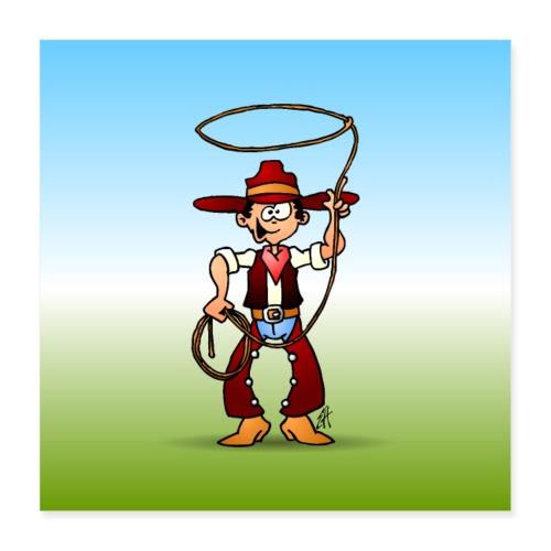 Cowboy with a lasso - Poster 16 x 16 (40x40 cm)