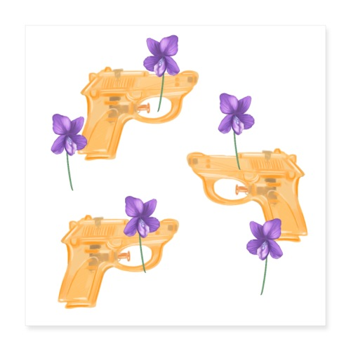 Water Guns and Flowers - Poster 40x40 cm