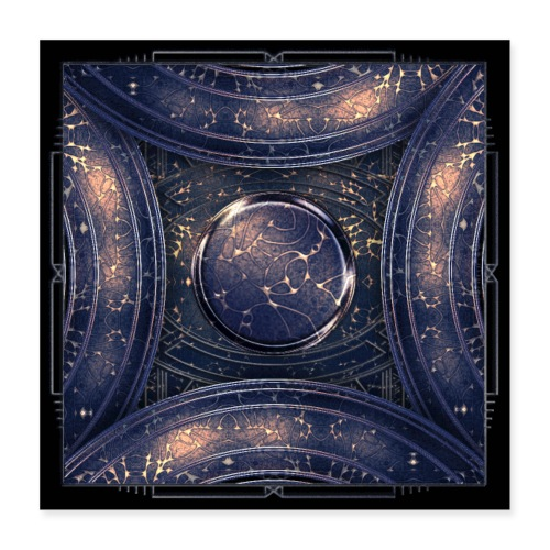 Galaxy universe abstract blue starry sky - Poster 16 x 16 (40x40 cm)