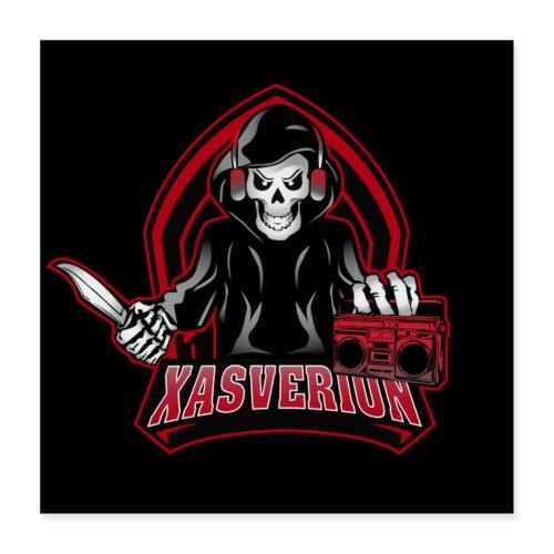 Xasverion Knife/Radio logo black background - Poster 40x40 cm