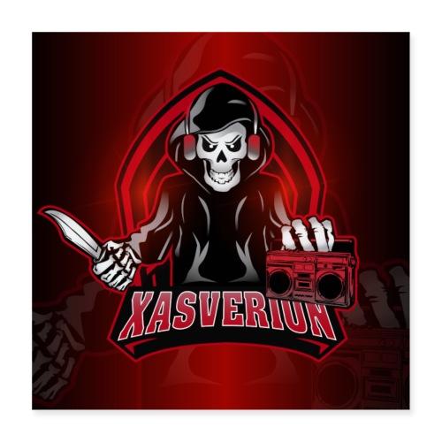 Xasverion Knife/Radio Logo w. red background - Poster 40x40 cm