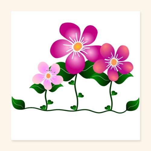 Blumen, pink, Blüten, floral, Blumenwiese, blumig - Poster 40x40 cm