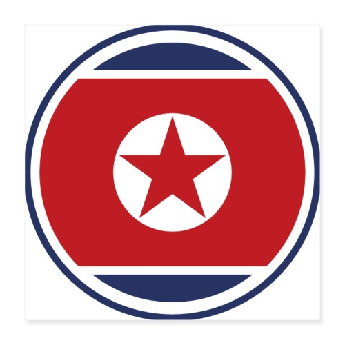 north korean flag - Póster 40x40 cm