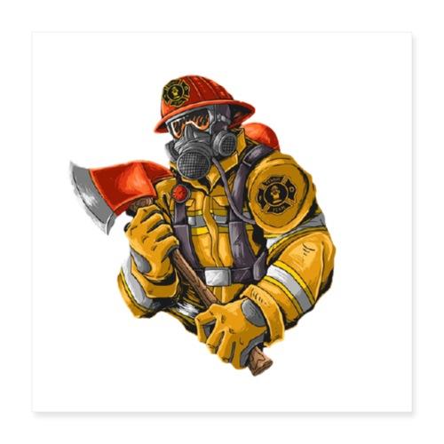 Feuerwehrmann mit Axt - Poster 40x40 cm