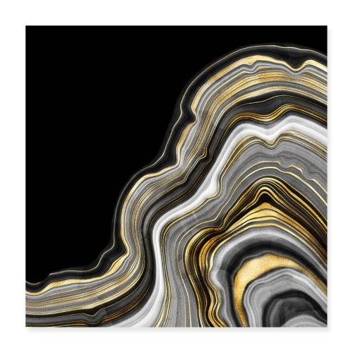 Agate vagues gris et or - Poster 40 x 40 cm