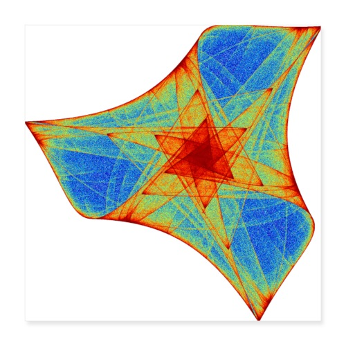 Colorful boomerang starfish sea animal 12117j_P - Poster 16 x 16 (40x40 cm)