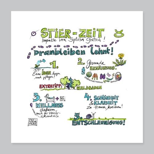 Stier-Zeit - Poster 40x40 cm