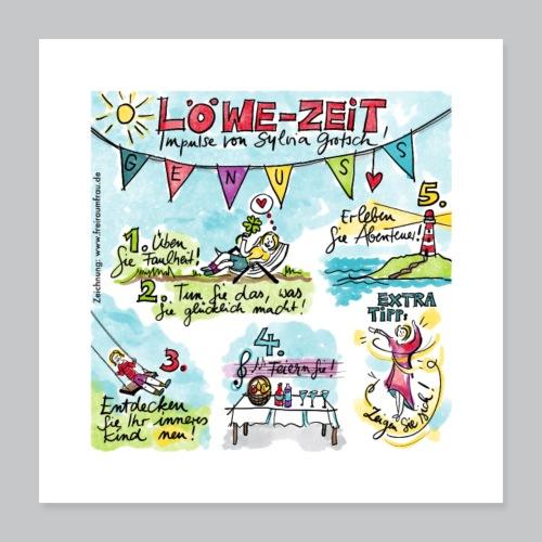 Löwe-Zeit - Poster 40x40 cm