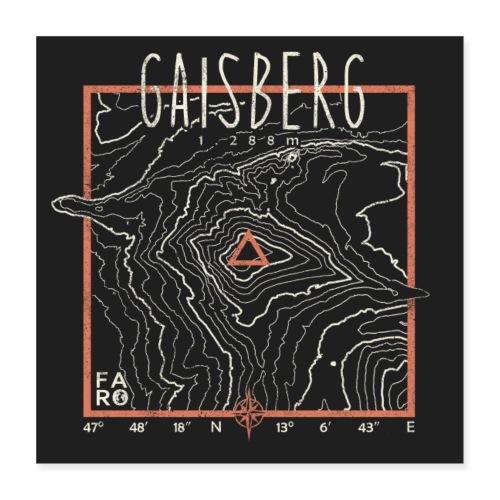 Gaisberg Contour Lines - Pitch Black - Poster 16 x 16 (40x40 cm)
