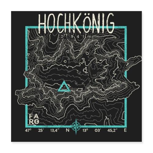 Hochkoenig Contour Lines - Pitch Black - Poster 16 x 16 (40x40 cm)