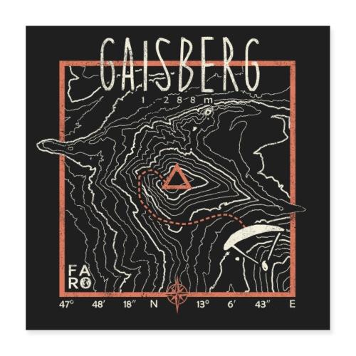 Gaisberg Paragliding Contour Lines - Pitch Black - Poster 16 x 16 (40x40 cm)