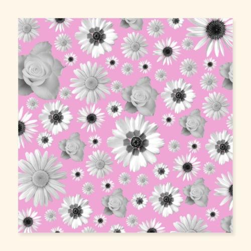 Blumen, Blume, Blüten, floral, Blumenranke, pink - Poster 40x40 cm