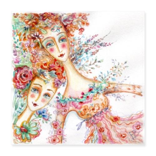 watercolor donnine 1200px - Poster 16 x 16 (40x40 cm)