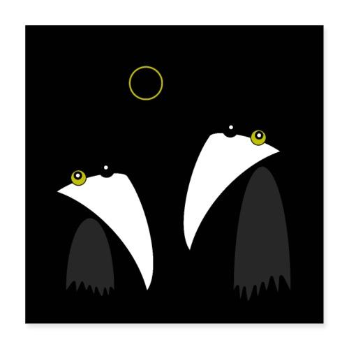 Raving Ravens - lunar eclipse - Poster 40 x 40 cm