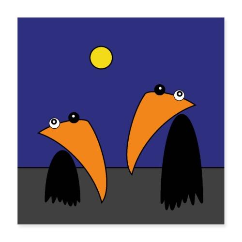 Raving Ravens - halloween - Poster 40x40 cm