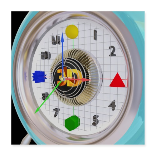 3D O' Clock with 3D engine and objects. - Poster 16 x 16 (40x40 cm)