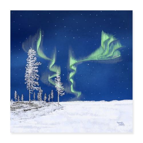 winter met noorderlicht - Poster 40 x 40 cm