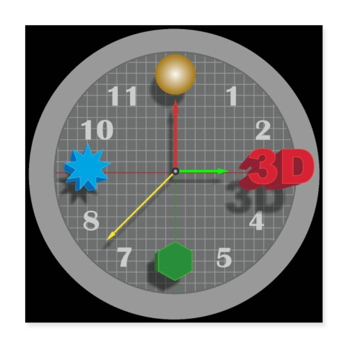 3D O' Clock with Objects - Grey/Black, Poster' - Poster 16 x 16 (40x40 cm)