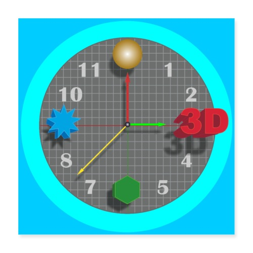 3D O' Clock with Objects - Blue/Blue, Poster - Poster 16 x 16 (40x40 cm)