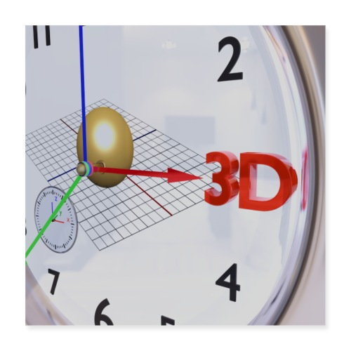 3D O' Clock with Sphere, 3D model, P/View, Poster - Poster 16 x 16 (40x40 cm)