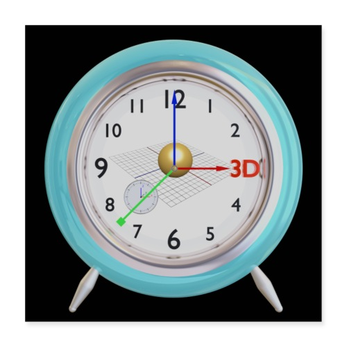 3D O' Clock with Sphere, 3D model, F/View, Poster - Poster 16 x 16 (40x40 cm)
