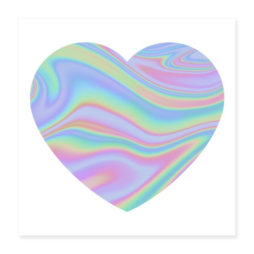Rainbow Holographic Heart - Poster 40x40 cm