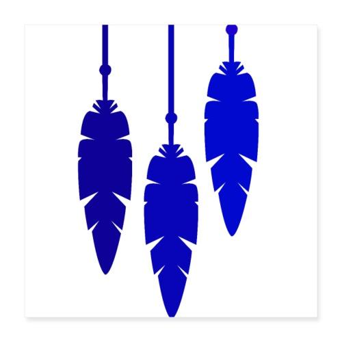 Plume hippie bleu marine - Poster 40 x 40 cm