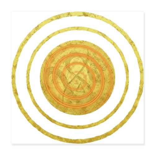 Glückssymbol Sonne - positive Schwingung - Spirale - Poster 40x40 cm
