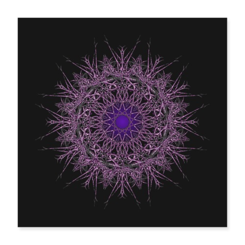 ornament jasmin dark blue - Poster 40x40 cm