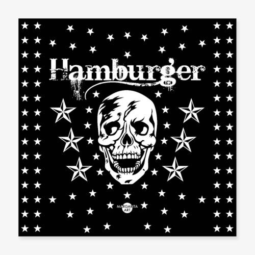 05 Hamburger Totenkopf Sterne Maske - Poster 40x40 cm