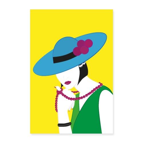 Elegante Madame in Grün und Blau - Poster 60x90 cm