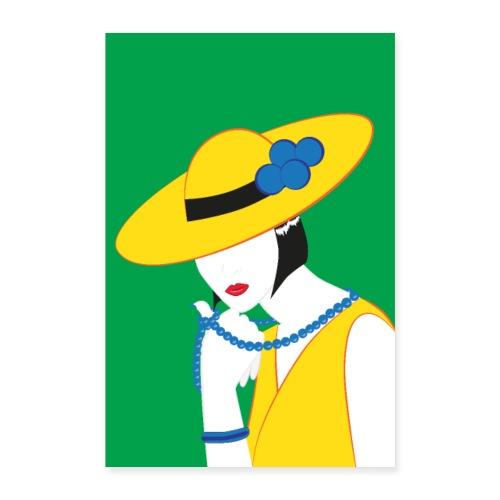 Elegante Madame in Gelb - Poster 60x90 cm