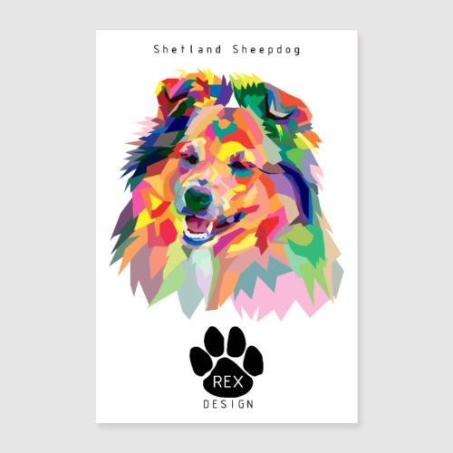Happy Little Sheltie - Poster 24 x 35 (60x90 cm)