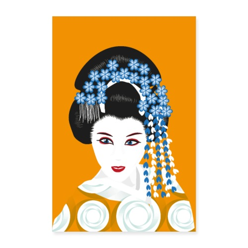 Geisha - Senfgelb und Blau - Poster 60x90 cm