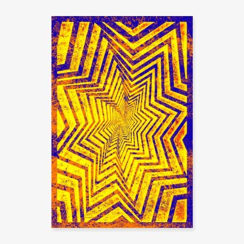 Kolorowa Gwiazda Grunge - Plakat o wymiarach 60x90 cm
