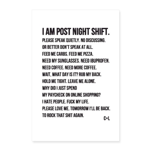 Night Shift Poem - Poster 60x90 cm