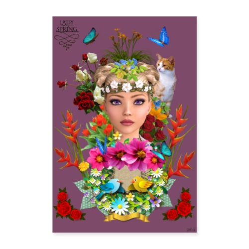 Poster - Lady spring - couleur vin - Poster 60 x 90 cm