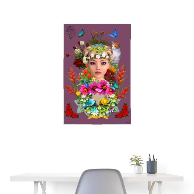 Poster - Lady spring - couleur lie de vin