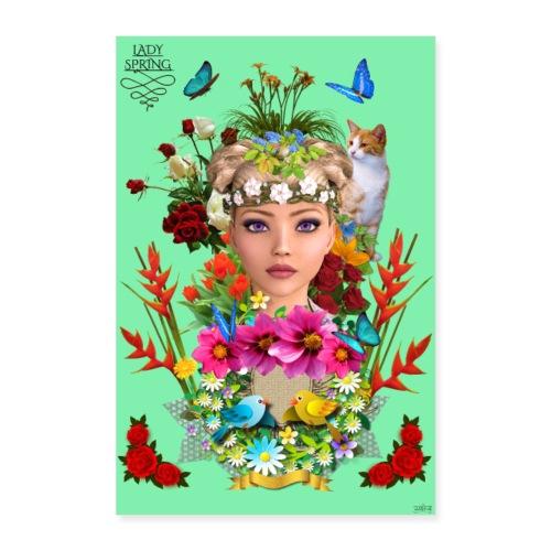 Poster - Lady spring - couleur vert celadon - Poster 60 x 90 cm
