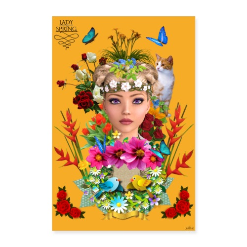 Poster - Lady spring - couleur orange - Poster 60 x 90 cm