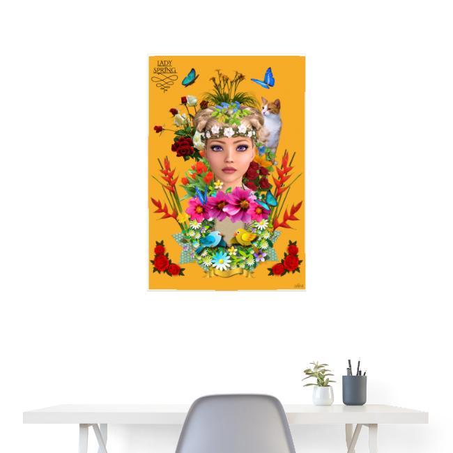 Poster - Lady spring - couleur orange